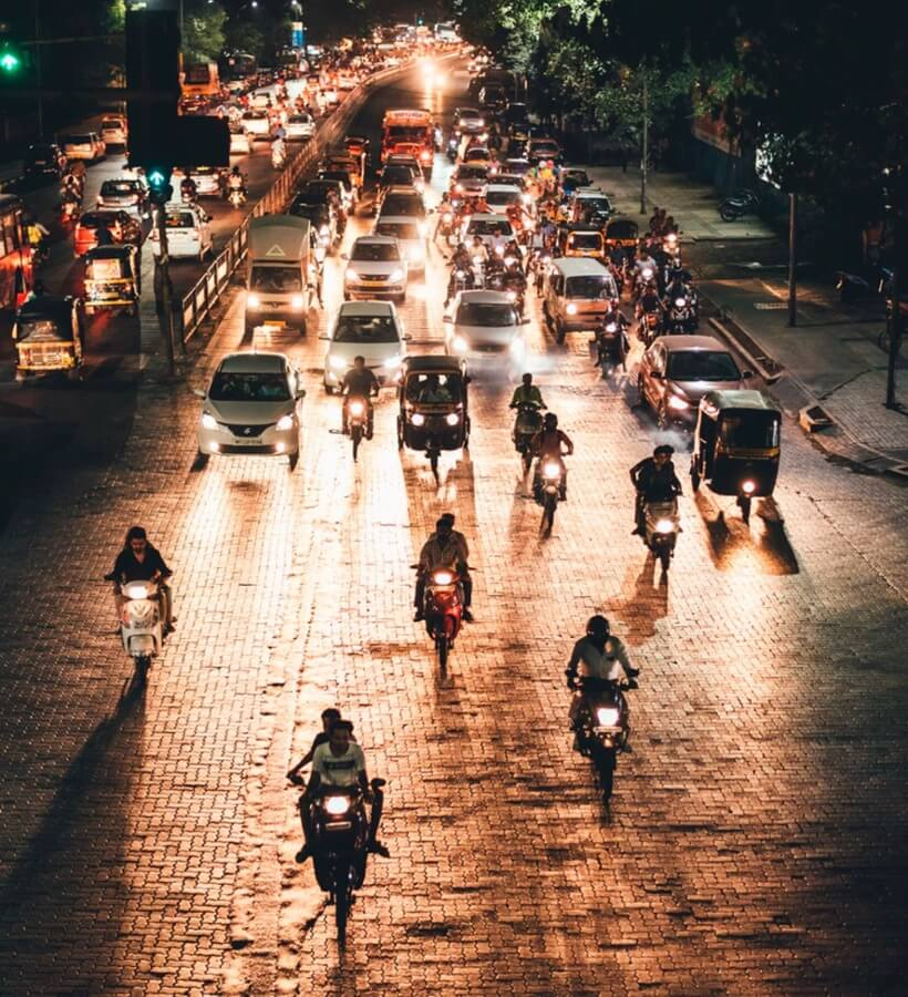 Pune's street at night